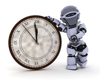 Robot with clock at new years Royalty Free Stock Photos