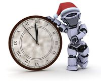Robot with clock at new years Stock Photos