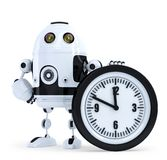 Robot with clock. Technology concept. . Contains clipping path Stock Photography