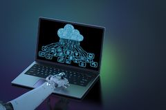 Robot with cloud computer Stock Images
