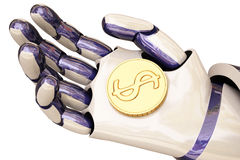 Robot and coins Royalty Free Stock Photography