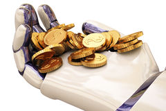 Robot and coins Stock Photography