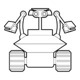 Robot collector icon outline. Robot collector icon in outline style isolated on white vector illustration Royalty Free Stock Photo