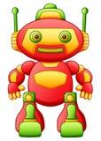Robot coloré de bande dessinée de jouet d'isolement sur le fond blanc illustration libre de droits