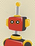 Robot color retro offset style lines surrounding Stock Image
