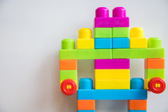 Robot from colorful blocks on white background Royalty Free Stock Photography