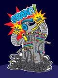 Robot colorido con una explosión Imagen de archivo libre de regalías