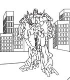 Robot coloring page. Hand drawn big robot coloring page for kids Royalty Free Stock Photography