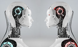 Robot competition. A portrait of an android or another synthetic organism incompetition Stock Images