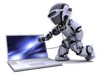 Robot with computer and stethoscope Stock Photos