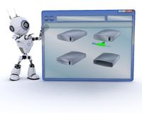 Robot with computer window Royalty Free Stock Photography