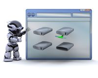 Robot with computer window and drive icons Royalty Free Stock Images