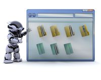 Robot with computer window and folder icons Stock Image