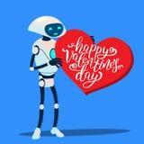 Robot con cuore rosso enorme, vettore felice di giorno di biglietti di S. Valentino Illustrazione isolata illustrazione vettoriale