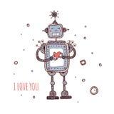 Robot con cuore, ti amo Fotografie Stock