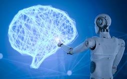 Robot con el cerebro del ai ilustración del vector