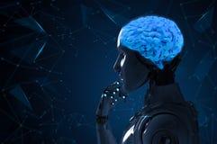 Robot con el cerebro del ai stock de ilustración
