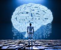 Robot con el cerebro del circuito stock de ilustración