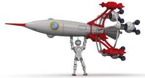 Robot con el cohete ilustración del vector