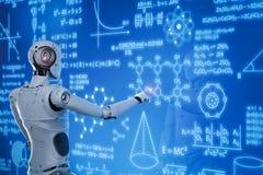 Robot con el hud de la educación ilustración del vector