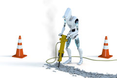 Robot con el martillo perforador Imágenes de archivo libres de regalías