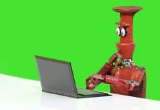 Robot con el ordenador portátil 3d rendir libre illustration