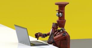 Robot con el ordenador portátil 3d rendir ilustración del vector