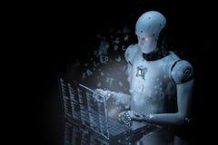 Robot con el ordenador portátil de cristal