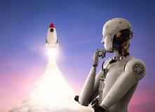 Robot con el transbordador espacial Imagen de archivo libre de regalías
