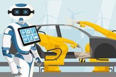 Robot con i comandi i robot per saldatura illustrazione vettoriale