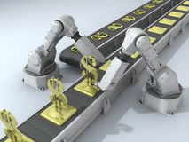 Robot con i dollari illustrazione vettoriale