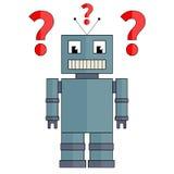 Robot con i punti interrogativi Fotografie Stock Libere da Diritti