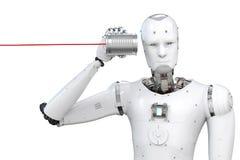 Robot con il barattolo di latta Fotografie Stock Libere da Diritti