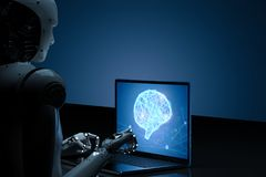 Robot con il cervello di ai sul taccuino immagini stock