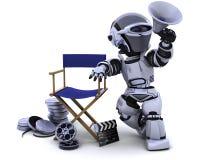Robot con il megafono e la presidenza dei Direttori Immagini Stock Libere da Diritti