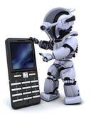 Robot con il phoine astuto Fotografia Stock Libera da Diritti