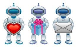 Robot con il regalo Fotografia Stock Libera da Diritti