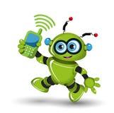 Robot con il telefono Fotografia Stock Libera da Diritti
