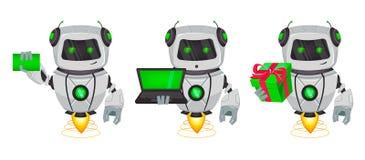 Robot con intelligenza artificiale, bot, un insieme di tre pose Il personaggio dei cartoni animati divertente tiene il biglietto  illustrazione vettoriale