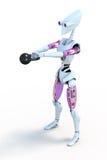 Robot con Kettlebell Imagenes de archivo