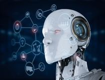 Robot con l'esposizione del hud Fotografia Stock Libera da Diritti