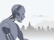 Robot con l'orizzonte della città e l'illustrazione delle nubi illustrazione vettoriale