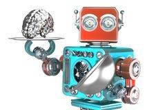 Robot con la bandeja y el cerebro humano Concepto de la inteligencia artificial Contiene la trayectoria de recortes stock de ilustración