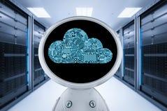 Robot con la computaci?n de la nube ilustración del vector