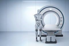 Robot con la exploración del mri ilustración del vector