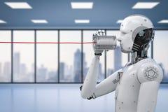 Robot con la lata Imágenes de archivo libres de regalías