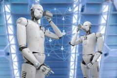 Robot con la lata Fotografía de archivo libre de regalías