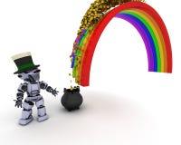 Robot con la mina de oro en el extremo del arco iris ilustración del vector