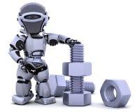 Robot con la noce ed il bullone Fotografia Stock Libera da Diritti