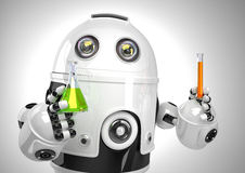 Robot con la provetta e la boccetta Concetto di analisi chimica Contiene il percorso di ritaglio Fotografie Stock